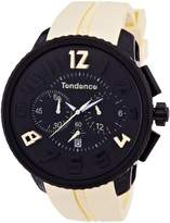Tendence Gulliver Round - Funky Unisex Quartz Watch with Black Dial Analogue Display and Beige Plastic or PU Strap 2046022
