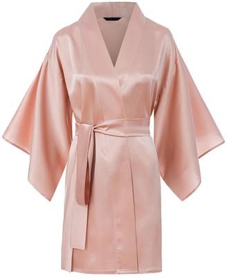 Moye Silk Robe Kimono Style - Pink