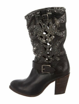 Frye Studded Accents Moto Boots Black