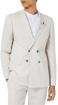 Topman Men's Skinny Fit Double Breasted Marled Suit Jacket