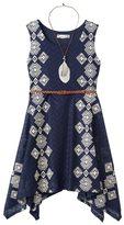 Knitworks Girls 7-16 Belted Handkerchief Hem Crochet Skater Dress with Necklace