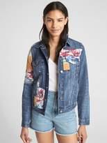 Gap Icon Denim Jacket with Mix-Camo Print Patchwork