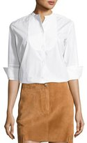 Helmut Lang 3/4-Sleeve Cotton Poplin Tuxedo Shirt, White
