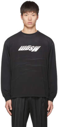 MSGM Black Upside Down Logo Long Sleeve T-Shirt