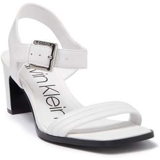 Calvin Klein Darla Leather Block Heel Sandal