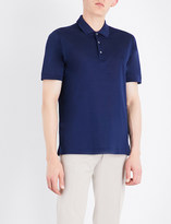 Brioni Logo-embroidered cotton-mesh polo shirt