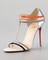 Christian Louboutin Arnold Python T-Strap Sandal