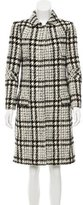 Oscar de la Renta Wool Houndstooth Patterned Coat