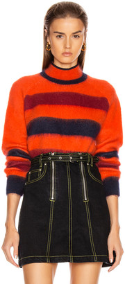 Proenza Schouler White Label Long Sleeve Cropped Stripe Sweater in Orange Combo | FWRD