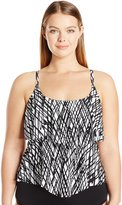 Maxine Of Hollywood Women's Stranded Adjustable Double-Tier Tankini