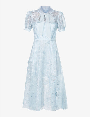 Self-Portrait Floral-embroidered lace maxi dress