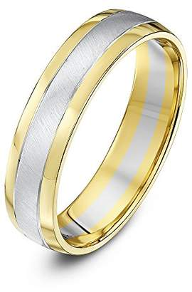 Theia Two Colours 9ct Yellow Gold Sides with White Gold Matt Centre Court Shape 5mm Wedding Ring - Size O