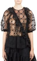 Simone Rocha Short Sleeve Embroidered Blouse