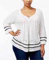 NY Collection Plus Size Lace-Up Pointelle Sweater