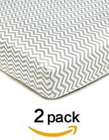 American Baby Company American Baby CompanyPercale Fitted Crib Sheet (,Zigzag Grey) 2 Count