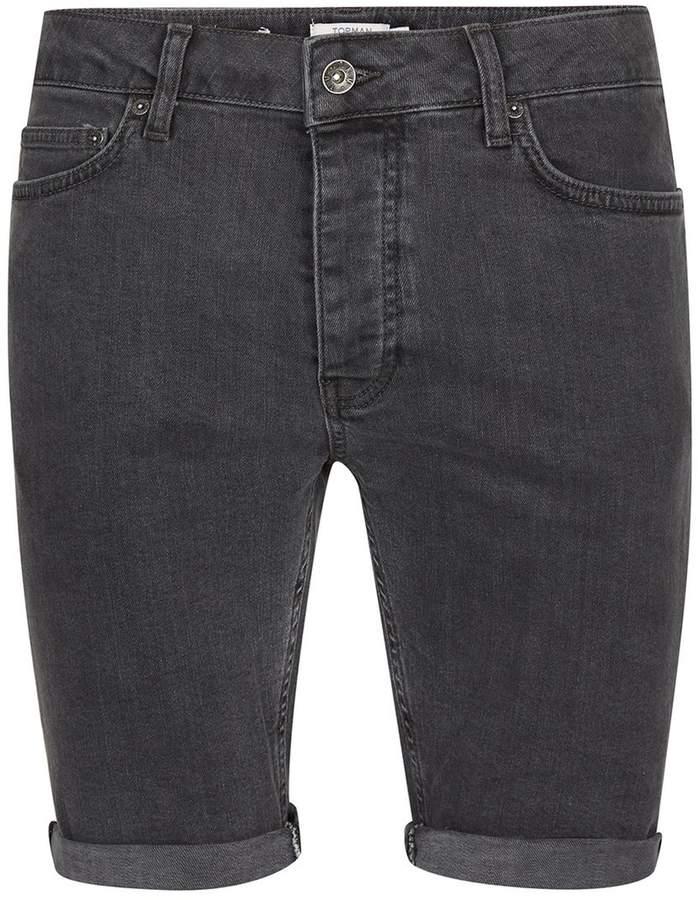 Topman Grey Stretch Skinny Denim Shorts