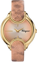 Salvatore Ferragamo Women's Swiss Signature Diamond (1/10 ct. t.w.) Nude Leather Strap Watch 38mm FIZ05 0015