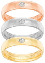 FINE JEWELRY Tri-Color Stainless Steel Cubic Zirconia Triple Band Ring