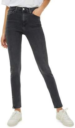 Topshop Washed Black Zip Hem Jamie Jeans 30-Inch Leg