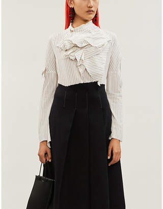 aganovich Striped draped cotton-blend shirt