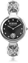 Versace Versus Broadwood Silver Stainless Steel Women's Bracelet Watch w/Black Dial and Crystals