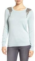 Halogen Petite Women's Embellished Shoulder Sweater