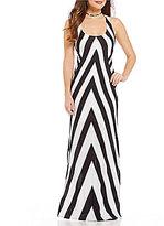 Moa Moa Chevron Stripe Lace-Up Back Maxi Dress
