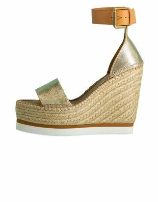 See by Chloe Metallic Strappy Wedge Heel Sandal