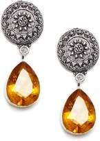 Bamboo Antique Topaz Gemstone Handmade Fashion Earring Set Indian Wedding Jewelry Cut Stone Earrings