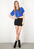 Haute Hippie Drape Front Mini Skirt in Black -