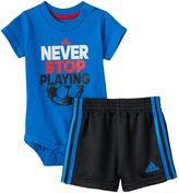 "adidas Baby Boy Never Stop Playing"" Tee & Shorts Set"