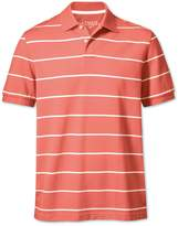Coral and White Stripe Pique Cotton Polo Size Large by Charles Tyrwhitt