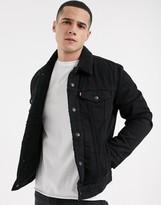 Levi's type 3 fleece lined denim trucker jacket in Berk black wash