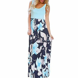 Ulanda Eu Womens Dresses Ulanda-EU Womens Dresses Ladies Sleeveless Floral Printed Dress Casual Holiday Beach Long Maxi Summer Dresses for Women Evening Party Sundress Blue