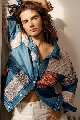 Vigoss Faria Patchwork Denim Trucker Jacket By in Blue Size XS