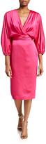 Theia Surplice Dolman-Sleeve Heavy Charmeuse Cocktail Dress