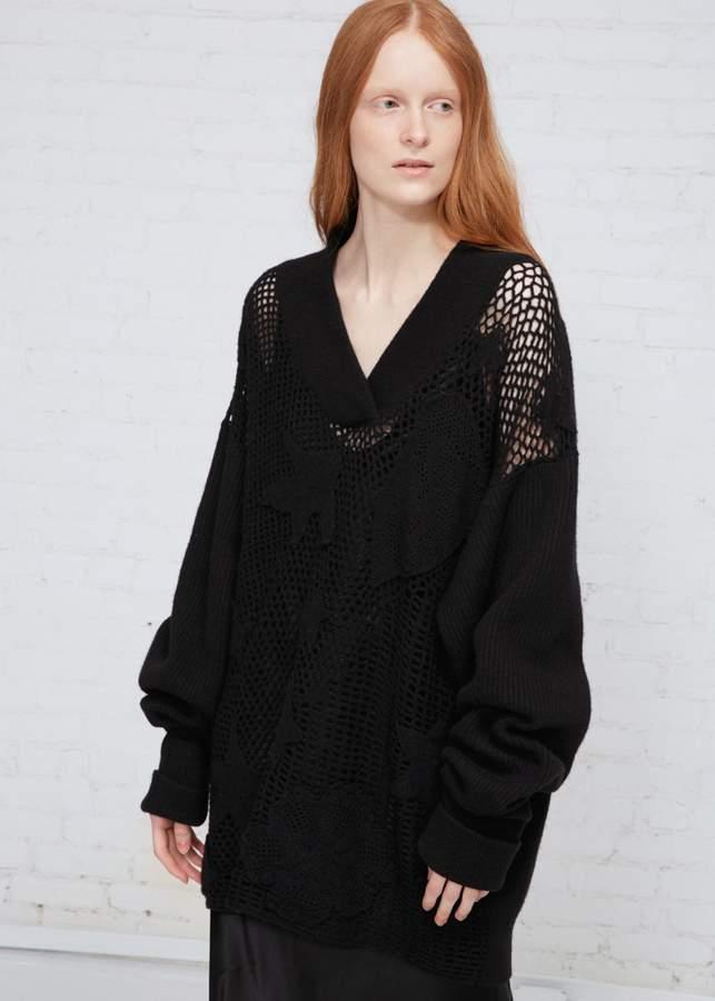 Maison Margiela V-neck Open Knit Sweater