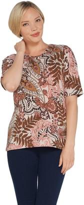 Denim & Co. Printed Jersey Scoop-Neck Elbow-Sleeve Top