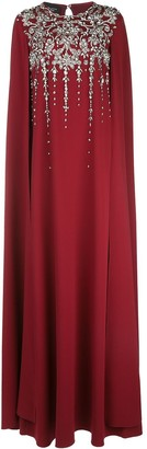 Oscar de la Renta Embellished Cape Dress