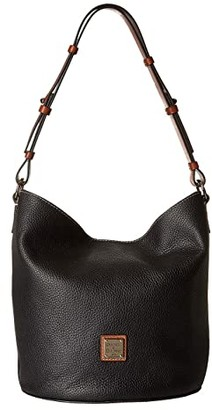 Dooney & Bourke Pebble Thea Feedbag (Black/Tan Trim) Handbags