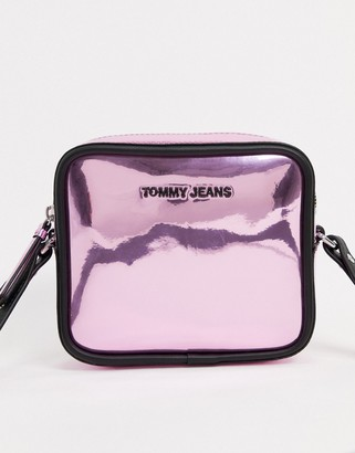 Tommy Jeans crossover bag in metallic pink