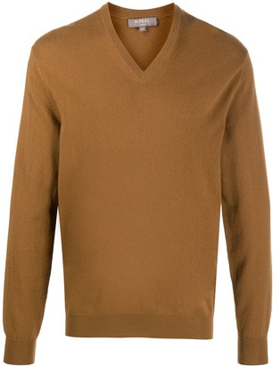 N.Peal V-neck ribbed knit jumper
