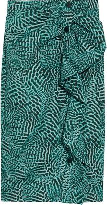 Max Mara Musette Ruffle-trimmed Printed Cotton-blend Wrap Skirt