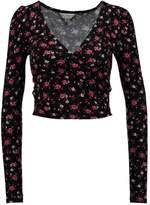 Miss Selfridge PUFF SLV WRAP Long sleeved top burgundy floral