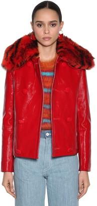 Marni Patent Leather Jacket W/Fur Collar