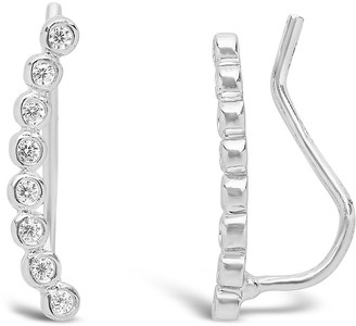 Sterling Forever Sterling Silver Bezel Set CZ Curved Ear Climbers