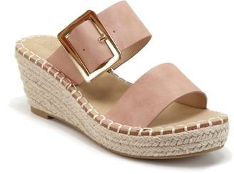 Catherine Malandrino Buckles Espadrille Wedge Slide Sandal