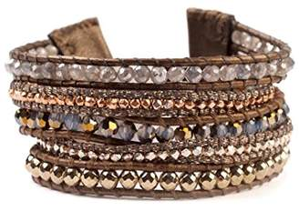 Chan Luu Goldtone Mineral Stone Mix Swarovski Crystal Wrap Brown Leather Bracelet Adjustable