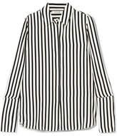 Frame Striped Silk Crepe De Chine Shirt - Black