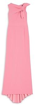 Paule Ka Twist Front Pleated Gown